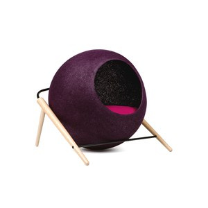The BALL, couchage pour chat Rouge aubergine 43x41x40cm, cocon:40cm diam