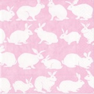 Serviettes Rabbit Hutch Rouge rose 25x25cm