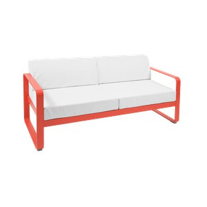Fermob Bellevie Canapé Bellevie 2 places avec Coussin Blanc grisé inclus Rouge saumon 160x75x56