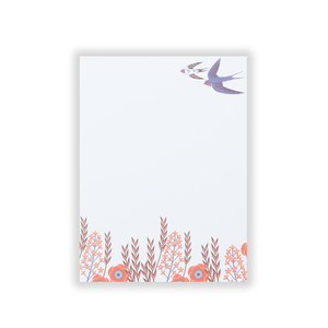 Bloc note a5 swallow bird pattern  14.8x21cm