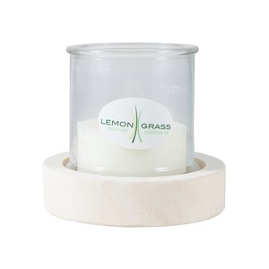 Bougie Lemon Grass 100% naturelle, photophore et base en bois  13x13cm