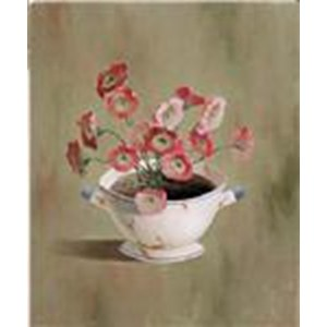 Tableau Pink Flowers in bowl  17.8x12.7cm