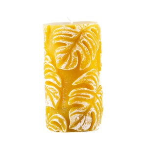 Bougie Monstera cylindrique Jaune moutarde 8x15cm