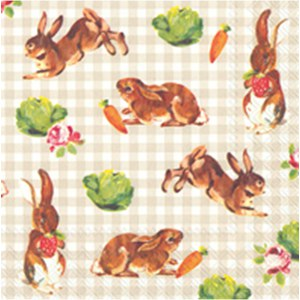 Serviettes Little Bunnies Blanc de Meudon 33x33cm