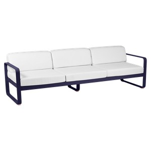 Fermob BELLEVIE Canapé bellevie 3 places avec Coussin Blanc grisé inclus Bleu aigue-marine 235x75x56