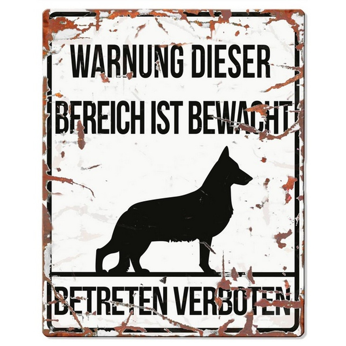 Warntafel GERMAN SHEPHERD weiss 20x25 cm  20x25 cm