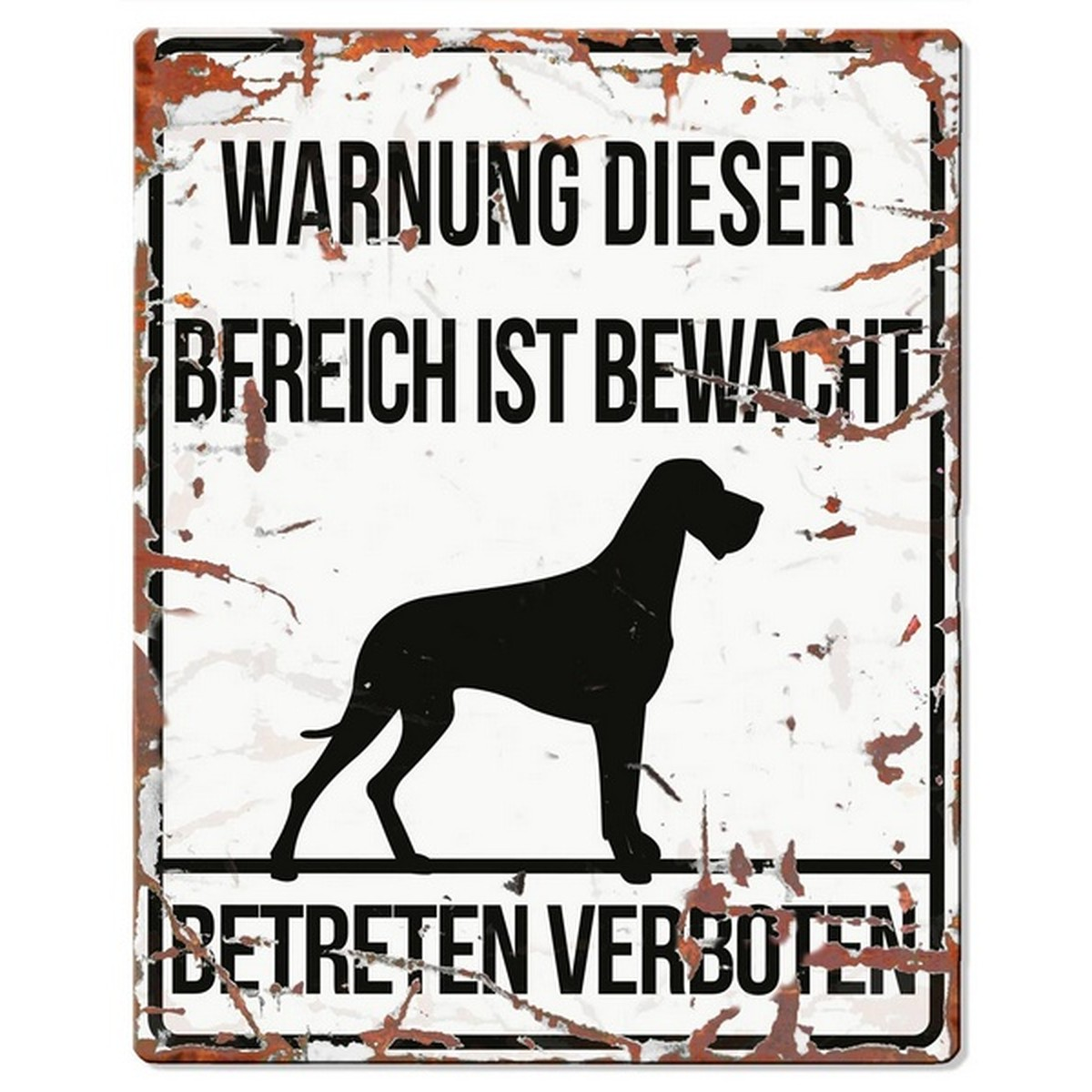 Warntafel DANISH DOG weiss 20x25 cm  20x25 cm