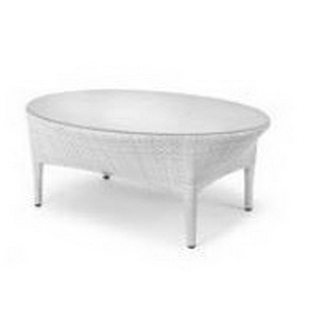 Dedon Tango Table de salon Tango avec plateau verre Blanc ivoire ...