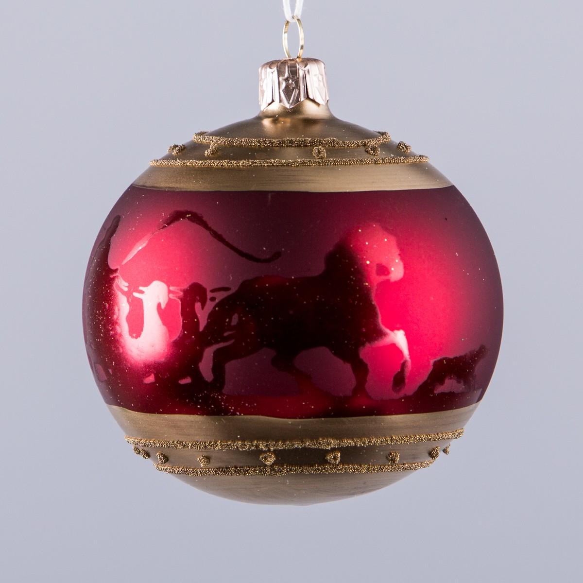 boule chevaux avec traineau bordeaux or 80mm rouge bordeaux 8cm schilliger. Black Bedroom Furniture Sets. Home Design Ideas