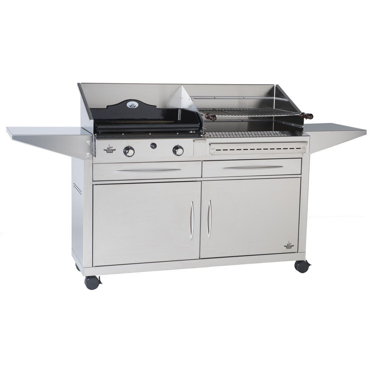 forge adour duo grill charbon et plancha gaz duo 600 avec chariot inox ferm 197x41x89cm. Black Bedroom Furniture Sets. Home Design Ideas